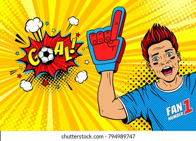Wow pop art male face. Young happy football fan with open mouth rising his hand celebrates win and Goal speech bubble. Vector colorful illustration in retro comic style. Sport game invitation poster.