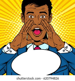 Wow pop art man. Young surprised afro american man in glasses and suit with open mouth and rising hands screaming announcement. Vector background in comic retro pop art style. Party invitation.
