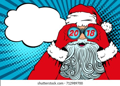 Wow pop art Santa Claus with open mouth holding binoculars in his hands with inscription 2018 in reflection and speech bubble. Vector illustration in retro pop art comic style. Christmas invitation.