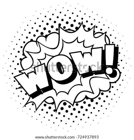 wow pop art template cartoon comic stock vector royalty free
