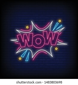 wow for poster in neon style. Wow neon signs. greeting card, invitation card, light banner, posters, flyer