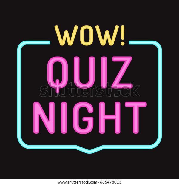 Wow Quiz Night Vector Badge Icon Stock Vector (Royalty Free