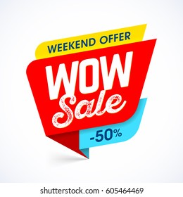 WOW Sale weekend special offer banner, up to 50% off,  vector illustration