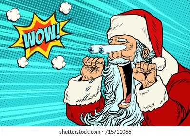 Wow Santa Claus Christmas character emotional reaction. Pop art retro vector illustration