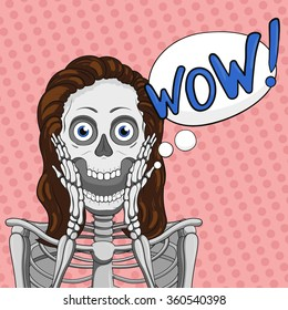WOW! Surprised female skeleton.Bubble vector element.Brown hair.