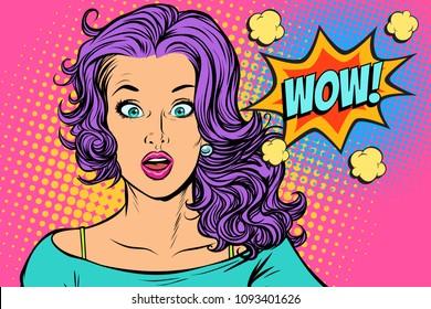 wow Surprised woman. Pop art retro vector illustration vintage kitsch drawing