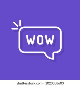 wow word in speech bubble. flat simple style trend modern logotype minimal graphic art sticker design isolated on purple. concept of surprise in internet communication or expression of wonder