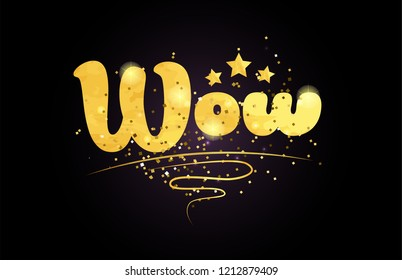 wow word with star and golden color suitable for card icon or typography logo design