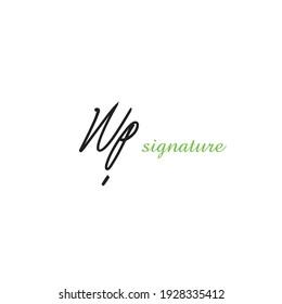 Wp initial handwriting logo for identity