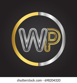 WP Letter logo in a circle. gold and silver colored. Vector design template elements for your business or company identity.