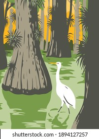 WPA poster art of the Everglades National Park, an American national park in Florida with egret in mangrove swamp and cypress trees done in works project administration or federal art project style.