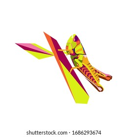 WPAP. abstract style color pop art shape grasshopper twig