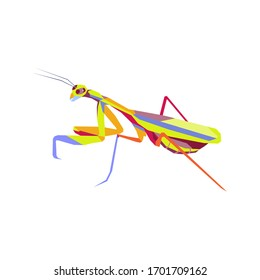 WPAP. abstract style color pop art shaped grasshopper grass
