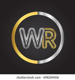 WR Letter logo in a circle. gold and silver colored. Vector design template elements for your business or company identity.