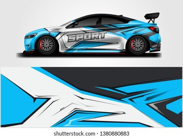 Wrap livery decal car vector , supercar, rally, drift . Graphic abstract stripe racing background . Eps 10