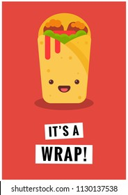 It's a Wrap Shawarma Pun Poster Vector Illustration in Flat Style Line Art