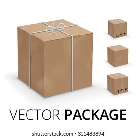 Wrapped box in yellow paper parcel box. Vector illustration