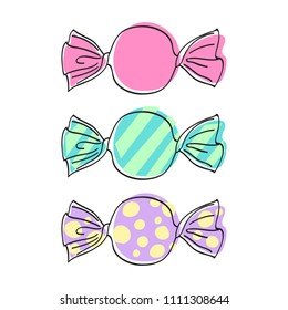 Wrapped candies set - sketch style illustration. Hand drawn sweets icons.