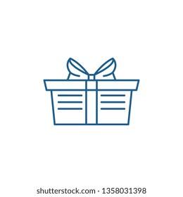 Wrapped gift basket line icon concept. Wrapped gift basket flat  vector symbol, sign, outline illustration.