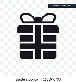 Wrapped gift box with ribbon vector icon isolated on transparent background, Wrapped gift box with ribbon logo concept
