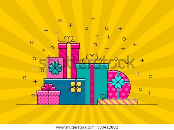 Wrapped gift boxes vector isolated. Cartoon colorful gift box collection.