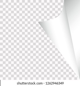 Wrapped page corner, transparent background, silver design, vector illustration