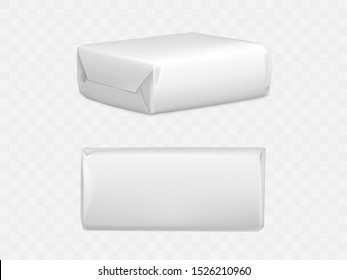 Wrapped parcel package box top and side view, white blank packaging mock up for post mailing isolated on transparent background. Shipping cardboard container Realistic 3d vector illustration, clip art