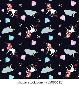 For wrappers, textiles, wallpapers, backgrounds. EPS10 / White unicorn with emeralds, clouds and moon on a blue background pattern.