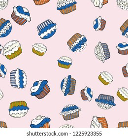 Wrapping paper. Seamless pattern with sweet desserts. Endless pattern, neutral, white and blue background. Vector illustration. Neutral, white and blue color. Cream.
