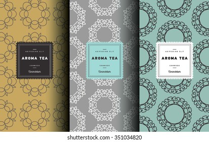 Wrapping paper template. Vector set of design elements and icons. Linear style for tea package - yellow,gray and green tea. Seamless pattern