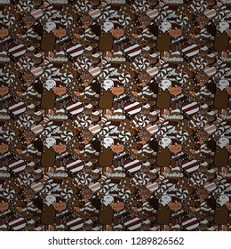 Wrapping paper. Vector illustration. Seamless pattern of cupcakes on a white, black and brown background.
