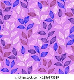 Wrapping tea leaves pattern seamless vector. Minimal tea plant bush leaves floral textile design. Herbal sketchy seamless background pattern with nature elements. Trendy summer foliage wallpaper.