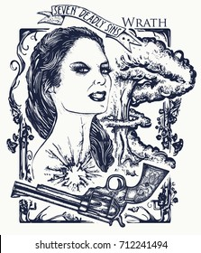 Wrath. Seven deadly sins tattoo and t-shirt design. Angry woman, symbol of rage, hatred, aggression. Angry girl, explosion of emotions, violence and hostility