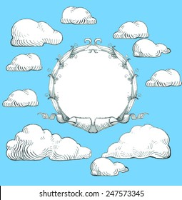 Wreath with banner and clouds in the sky, vector design