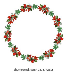Wreath of berries and rosehip leaves. Cartoon style illustration. White background, isolate. For design announcements, greeting cards, posters, advertisement.