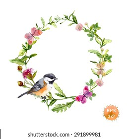 Wreath border frame with wild herbs, meadow flowers, butterflies and bird. Watercolor vector