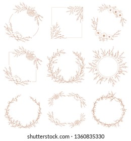 Wreath border round and square decorative botanical frames of branches and flowers in vector