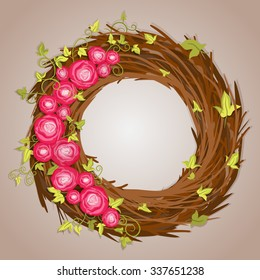 The wreath of branches, roses and ivy.