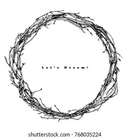 Wreath from the branches of the vine. Vector black and white sketch. Isolated frame.