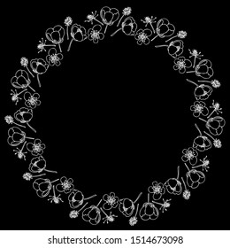 Wreath of Buttercup flowers.Layered vector file.Buttercup.For cards,invitations, brochures,business cards,restaurant menu blue background.White contour drawing of buttercups on a black background.