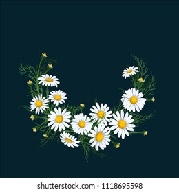 Wreath of chamomile flower on deep blue background vector illustration. Midsummer holiday background concept.
