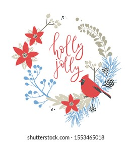 Wreath with Christmas decorative elements - red cardinal bird sitting on plants and branches. Traditional symbols, greeting card, vector illustration. Holly jolly calligraphy
