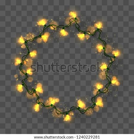 Wreath Christmas Lights Garland On Transparent Stock Vector Royalty
