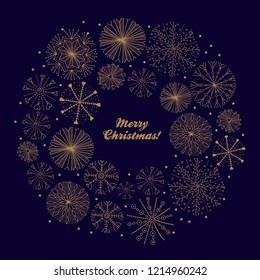 Wreath christmas of snowflakes. Cute vector postcard.