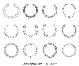 Wreath collection - vector silhouette.