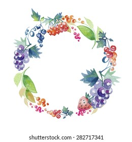 wreath composed of grapes and colorful berries, watercolor