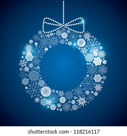wreath consisting of a scattering of scintillating shining snowflakes