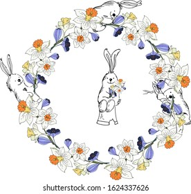 A wreath of daffodils, crocuses with bunnies. Vector illustration.