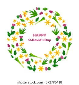 The wreath with daffodils , tulips, thistles, and leek. happy St. David's  day. Vector illustration.