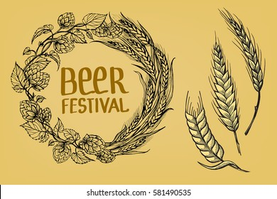 a wreath of ears of wheat and hops in the form of a circle in graphic style vector illustration